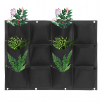 12 Pockets Wall Mounted Felt Vegetable Garden Bag Container Plant Pots